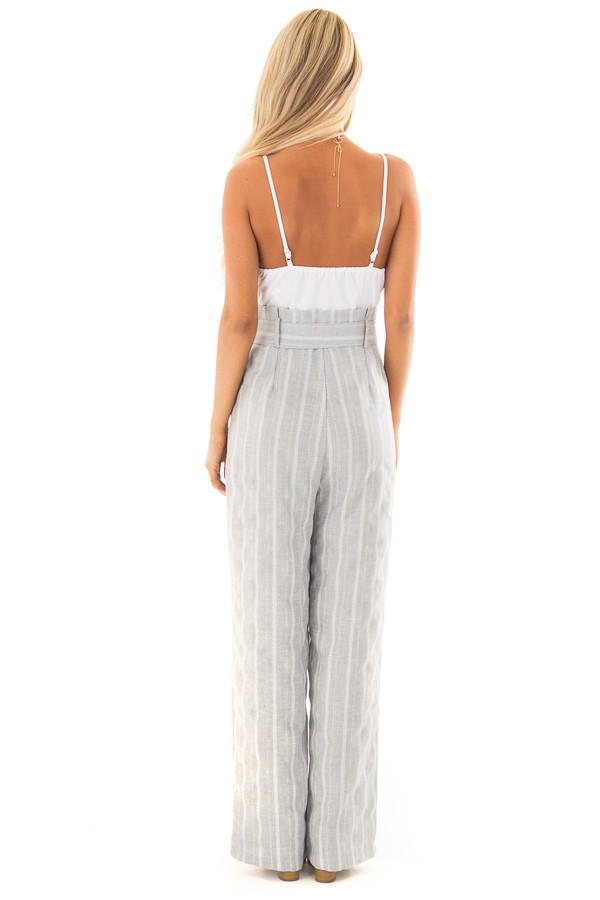 Light Grey Striped Tank Top Jumpsuit with Pockets back full body