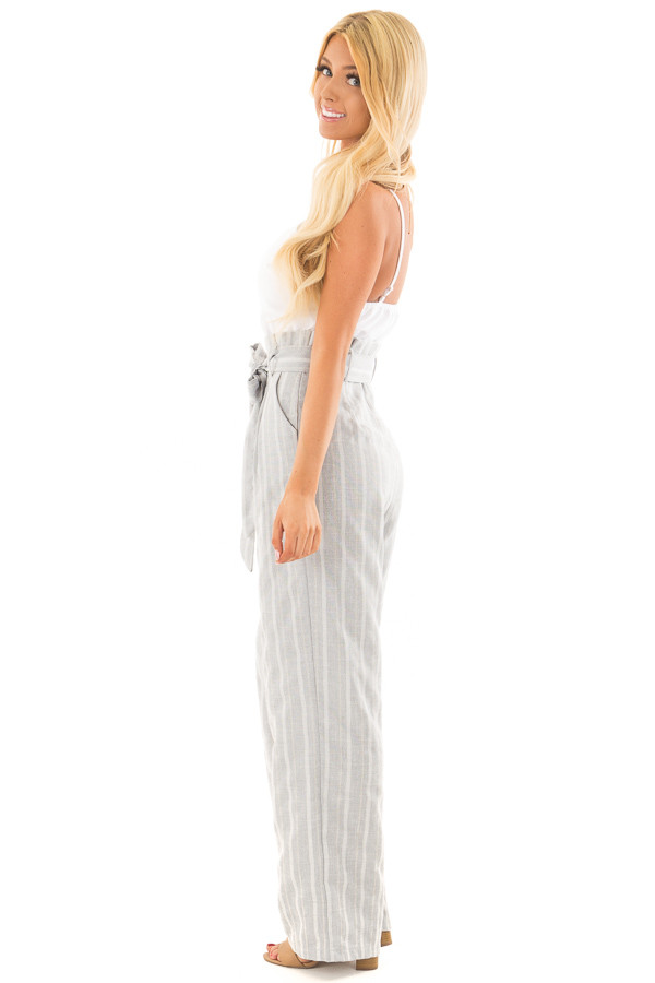 Light Grey Striped Tank Top Jumpsuit with Pockets side full body