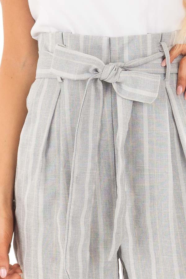 Light Grey Striped Tank Top Jumpsuit with Pockets detail