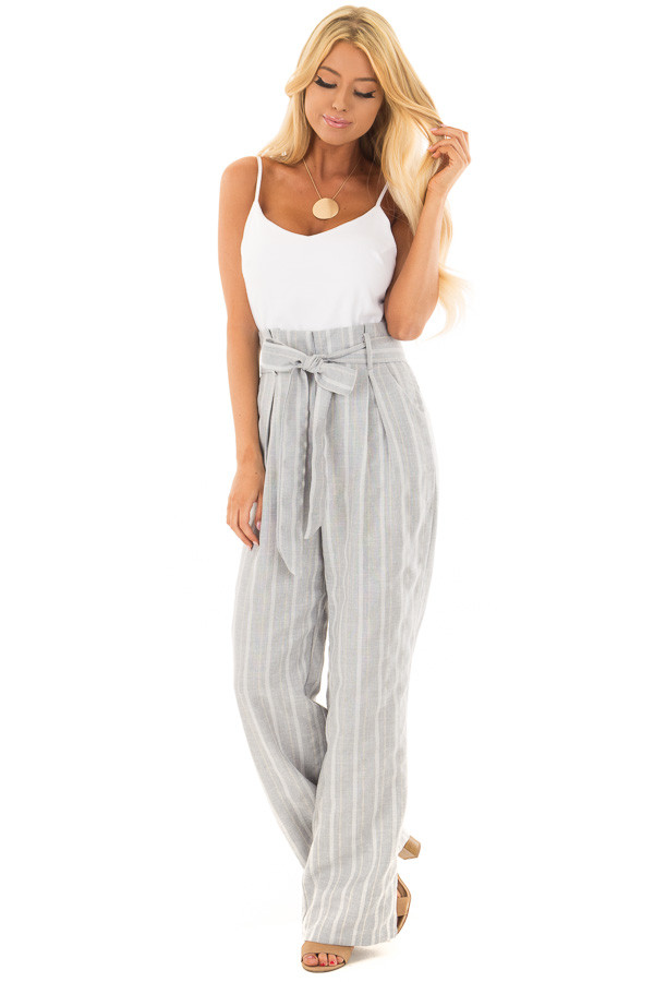Light Grey Striped Tank Top Jumpsuit with Pockets front full body