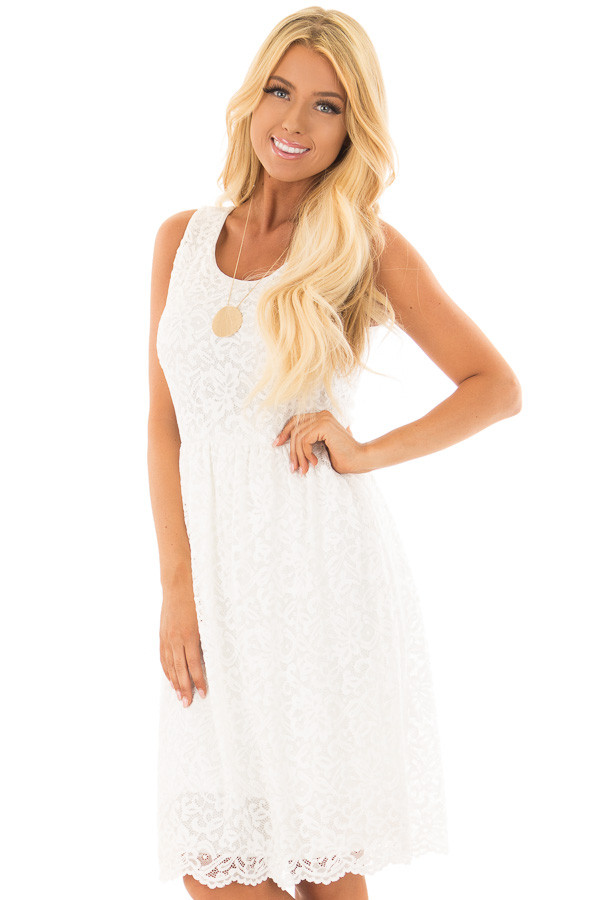 Ivory Lace Tank Top Dress front close up