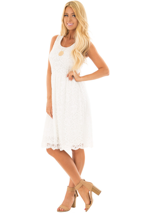 Ivory Lace Tank Top Dress front full body