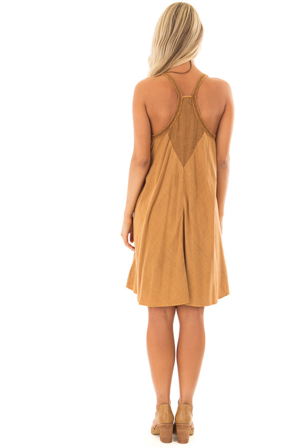 Washed Carmel Dress with Crochet Trim Detail back full body
