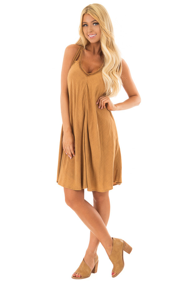 Washed Carmel Dress with Crochet Trim Detail front full body