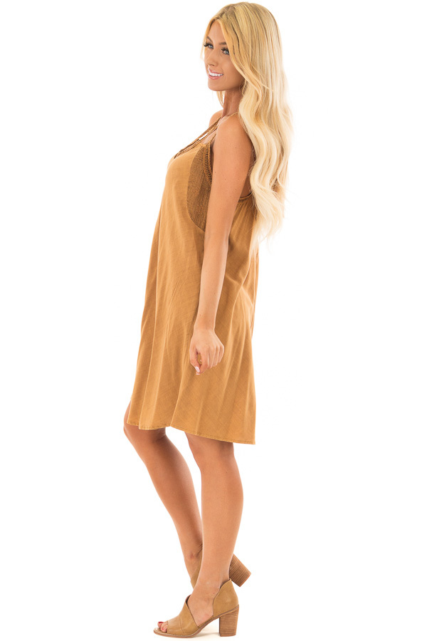 Washed Carmel Dress with Crochet Trim Detail side full body