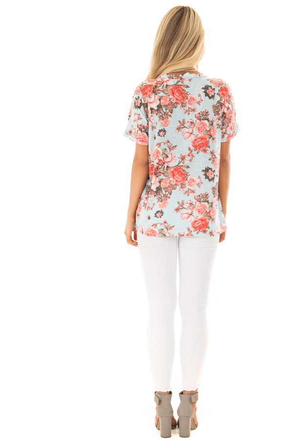 Sky Blue Soft Floral Print Top with Breast Pocket back full body