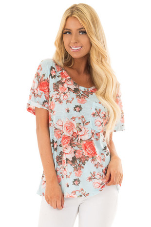 Sky Blue Soft Floral Print Top with Breast Pocket front close up