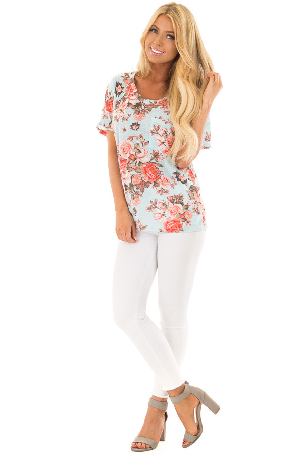 Sky Blue Soft Floral Print Top with Breast Pocket front full body
