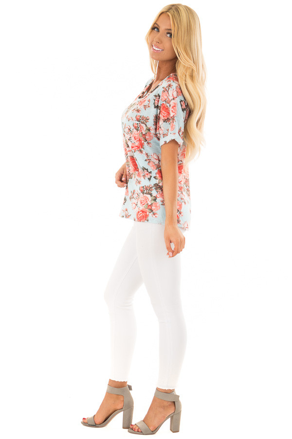 Sky Blue Soft Floral Print Top with Breast Pocket side full body
