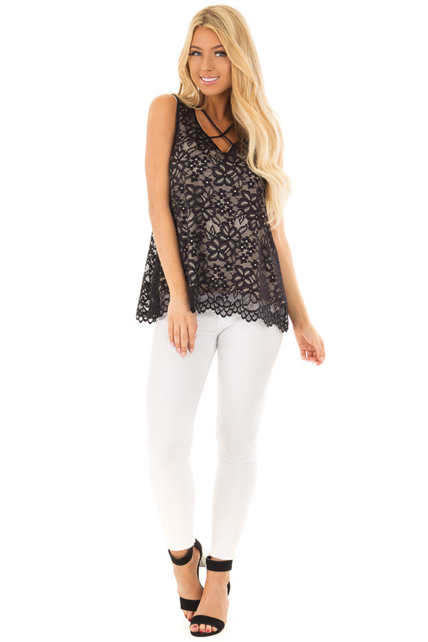 Black Lace Tank Top with Criss Cross Neckline front full body