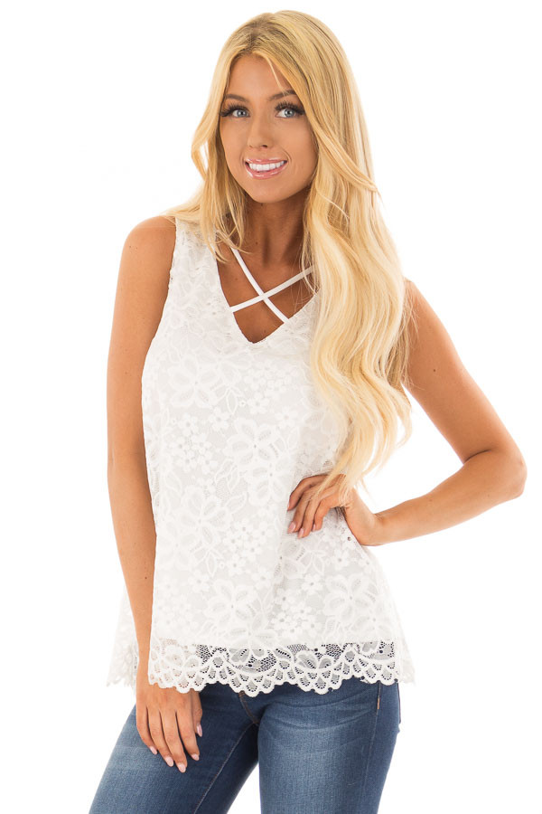 White Lace Tank Top with Criss Cross Neckline front close up