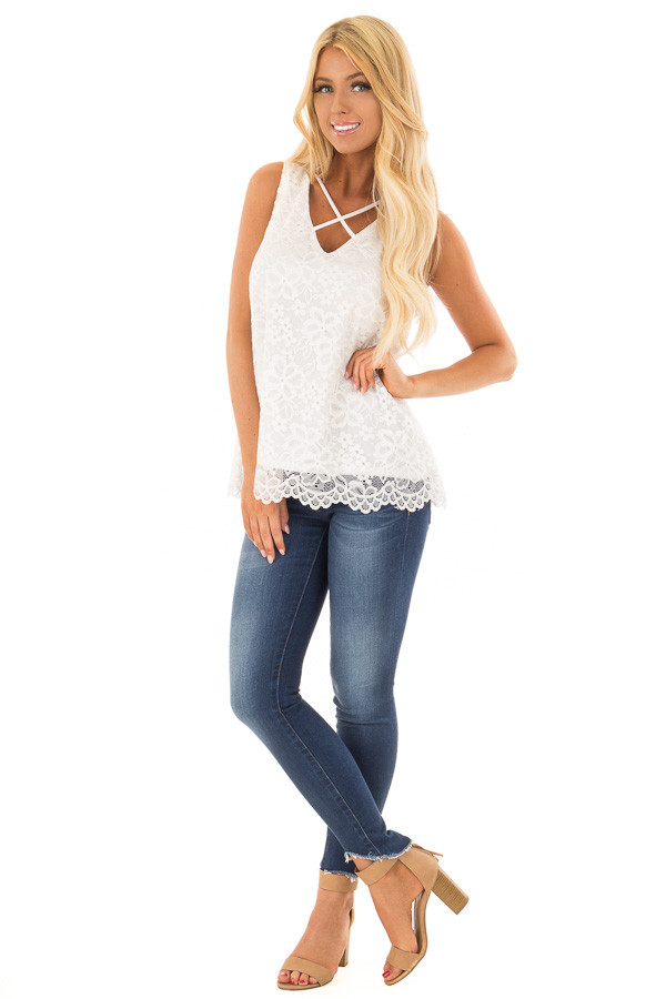 White Lace Tank Top with Criss Cross Neckline front full body