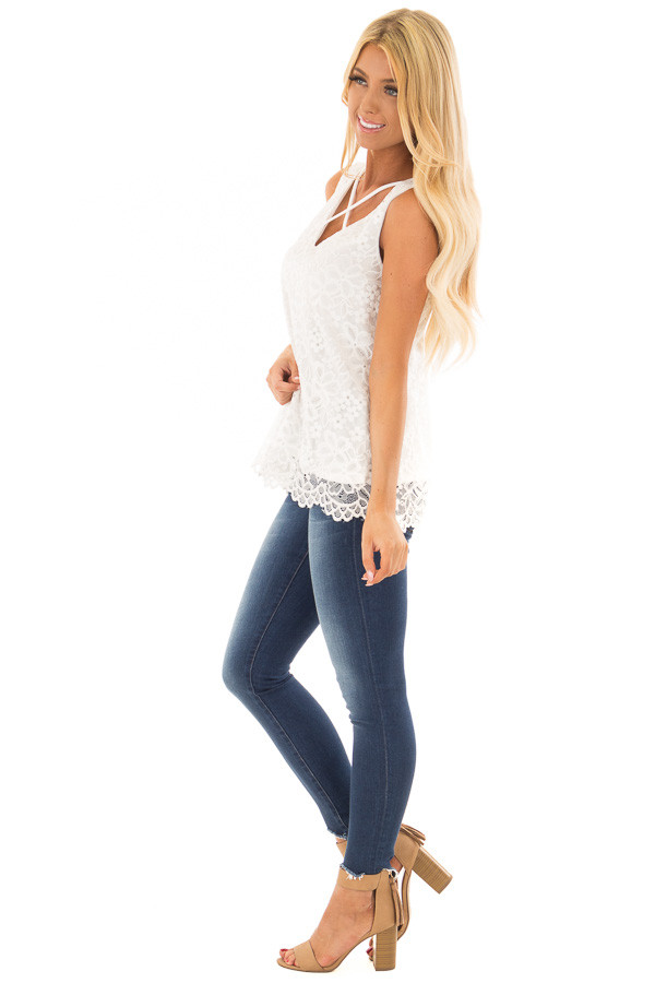 White Lace Tank Top with Criss Cross Neckline side full body