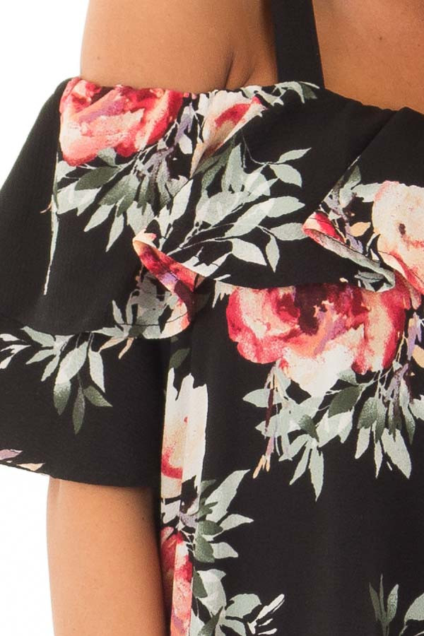 Black Floral Cold Shoulder Top with Ruffle Overlay detail