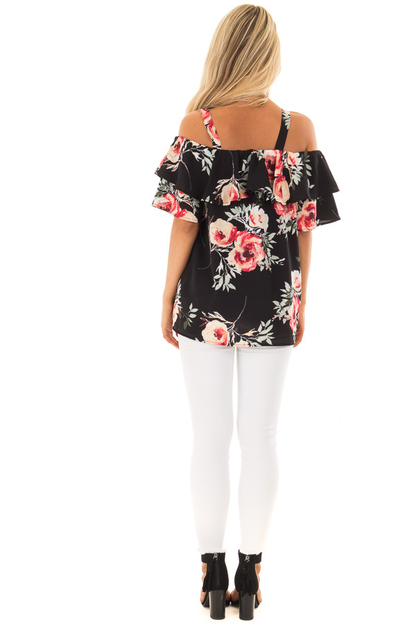 Black Floral Cold Shoulder Top with Ruffle Overlay back full body