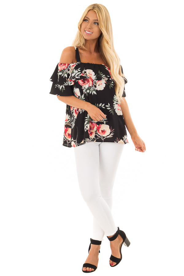 Black Floral Cold Shoulder Top with Ruffle Overlay front full body