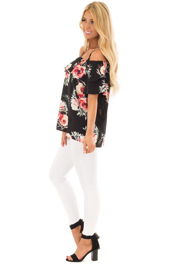 Black Floral Cold Shoulder Top with Ruffle Overlay side full body