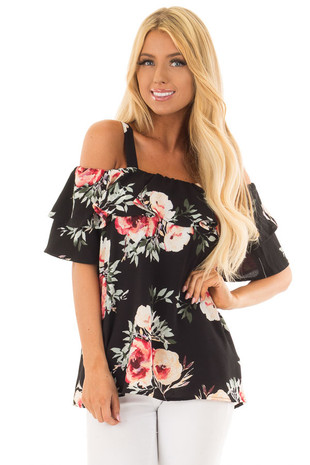 Black Floral Cold Shoulder Top with Ruffle Overlay front close up