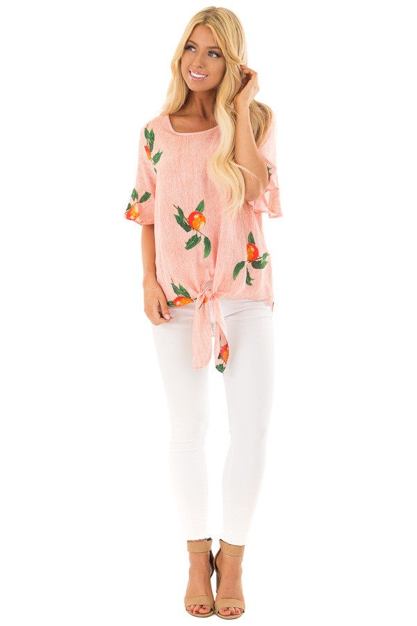 Sunrise Orange Striped Peach Print Top with Front Tie front full body