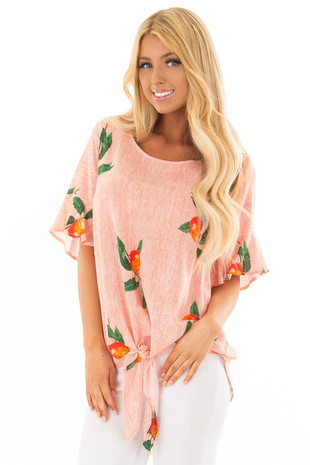 Sunrise Orange Striped Peach Print Top with Front Tie front close up