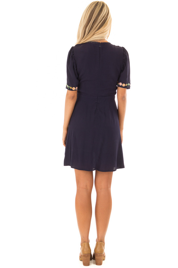 Navy Short Sleeve Dress with Embroidery Detail back full body