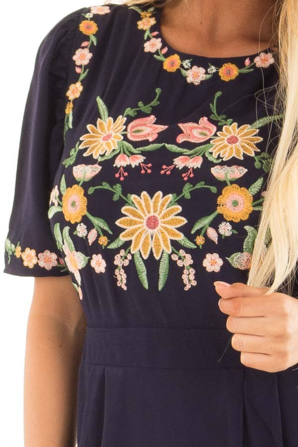 Navy Short Sleeve Dress with Embroidery Detail detail