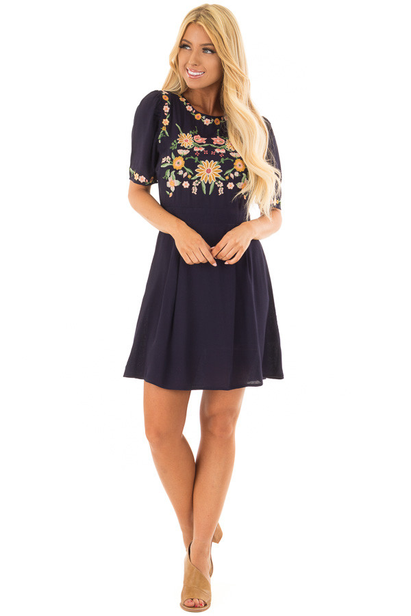 Navy Short Sleeve Dress with Embroidery Detail front full body