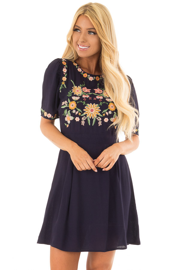 Navy Short Sleeve Dress with Embroidery Detail front close up