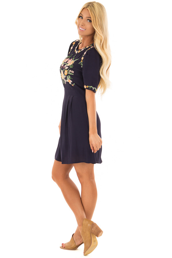 Navy Short Sleeve Dress with Embroidery Detail side full body