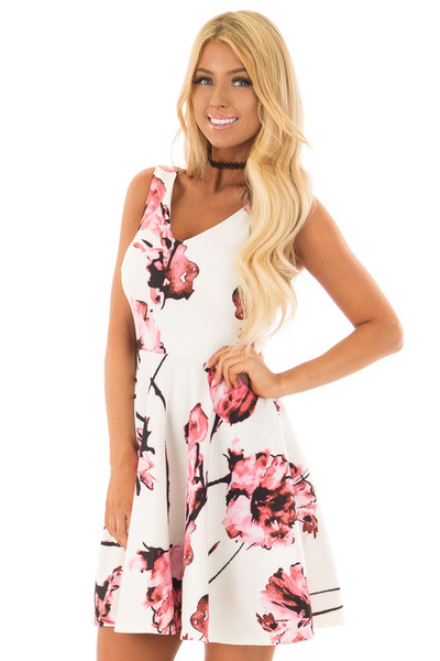 Ivory with Pink Floral A line Dress front close up