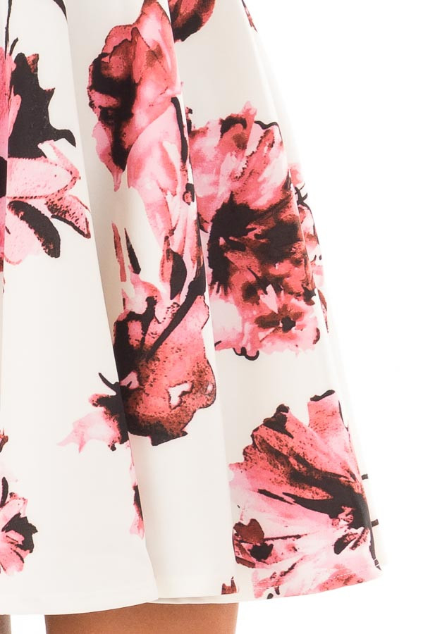 Ivory with Pink Floral A line Dress detail