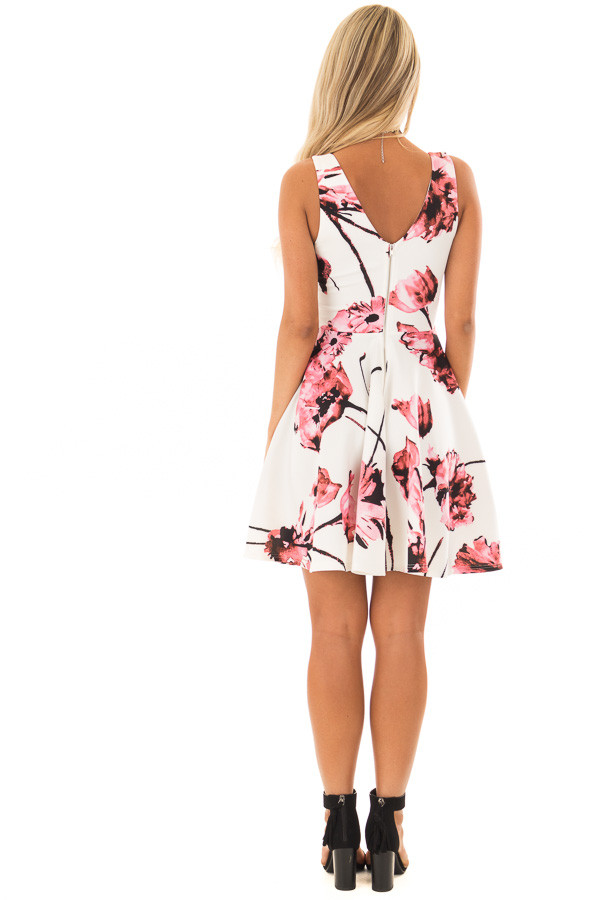 Ivory with Pink Floral A line Dress back full body