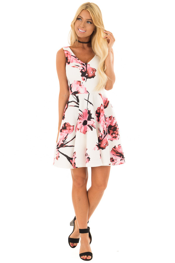 Ivory with Pink Floral A line Dress front full body