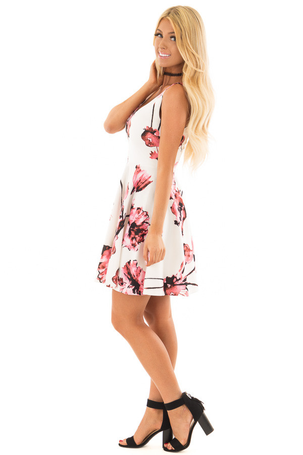 Ivory with Pink Floral A line Dress side full body