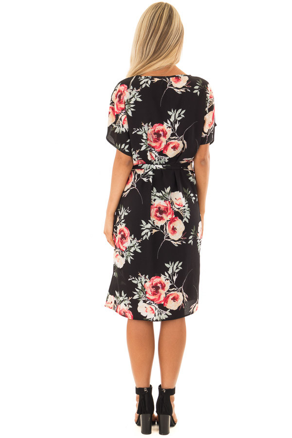 Black Floral Dress with Waist Tie and Hidden Pockets back full body