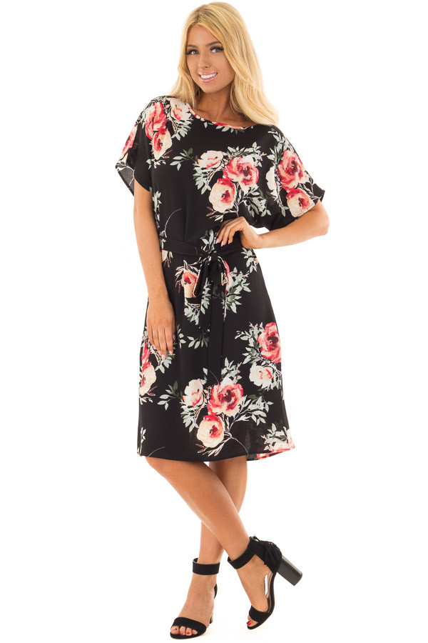 Black Floral Dress with Waist Tie and Hidden Pockets front full body