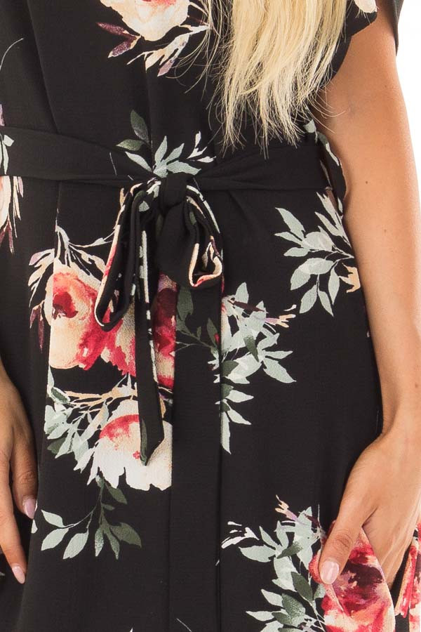 Black Floral Dress with Waist Tie and Hidden Pockets detail
