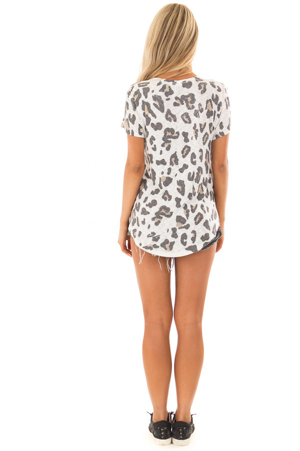 Ivory Leopard Print Ribbed Knit Top with X Neckline back full body