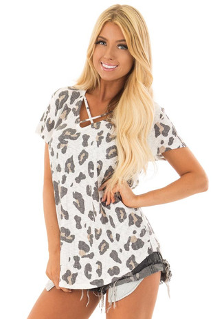 Ivory Leopard Print Ribbed Knit Top with X Neckline front close up