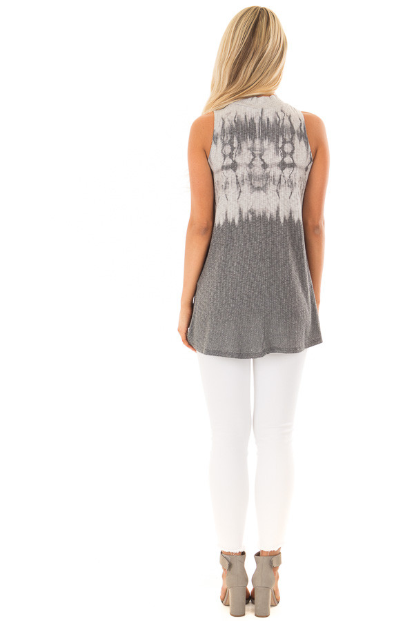 Charcoal Tie Dye Ribbed Knit Tank Top with High Neckline back full body