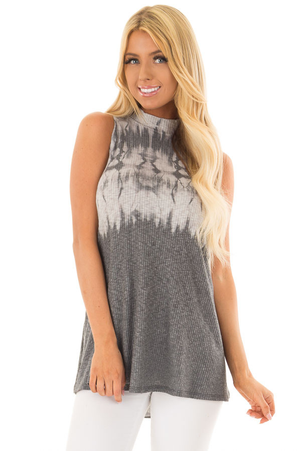 Charcoal Tie Dye Ribbed Knit Tank Top with High Neckline front close up