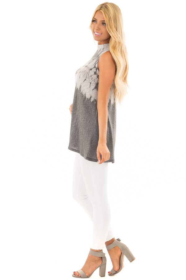 Charcoal Tie Dye Ribbed Knit Tank Top with High Neckline side full body