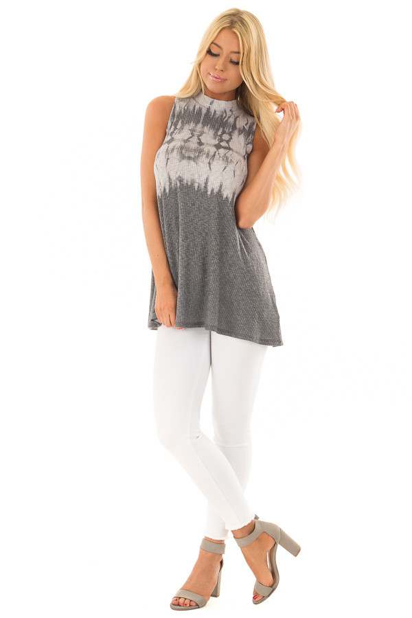 Charcoal Tie Dye Ribbed Knit Tank Top with High Neckline front full body