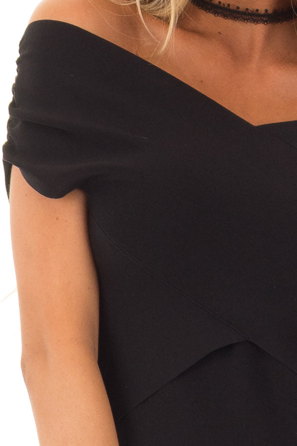 Midnight Black Cross Wrap Style Top detail