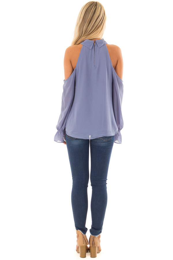 Dusty Blue Cold Shoulder Surplice Top with Bell Sleeves back full body