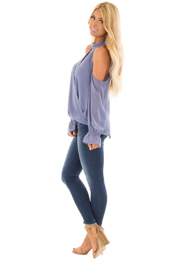 Dusty Blue Cold Shoulder Surplice Top with Bell Sleeves side full body