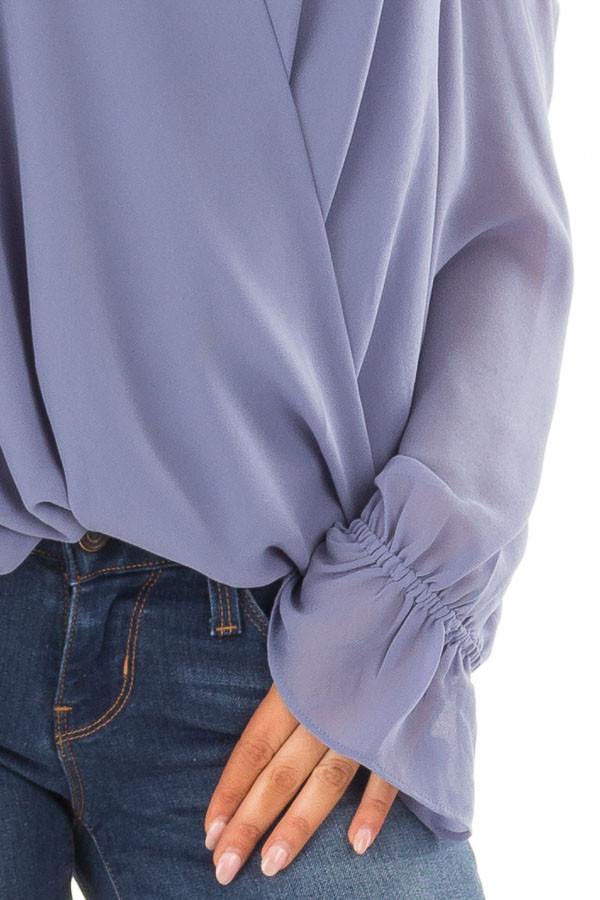 Dusty Blue Cold Shoulder Surplice Top with Bell Sleeves detail