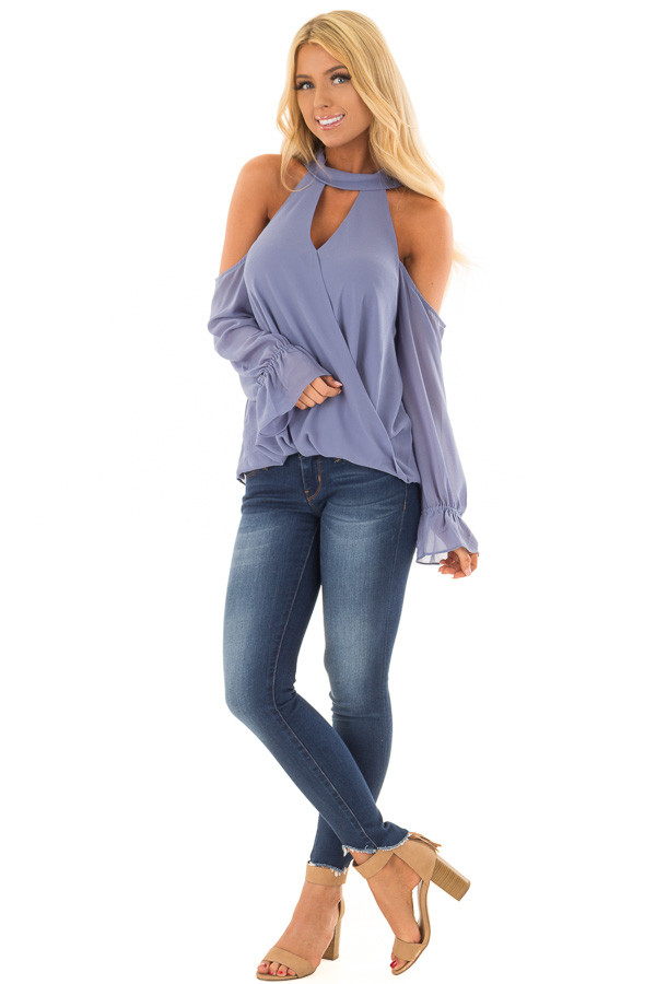 Dusty Blue Cold Shoulder Surplice Top with Bell Sleeves front full body