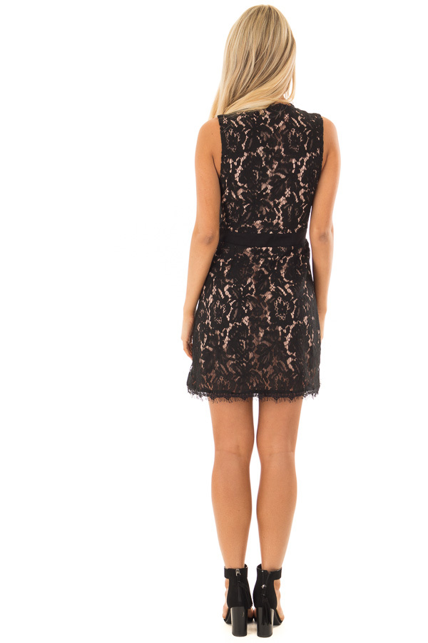 Black Overlap Waist Tie Lace Dress back full body
