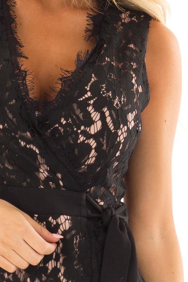 Black Overlap Waist Tie Lace Dress detail
